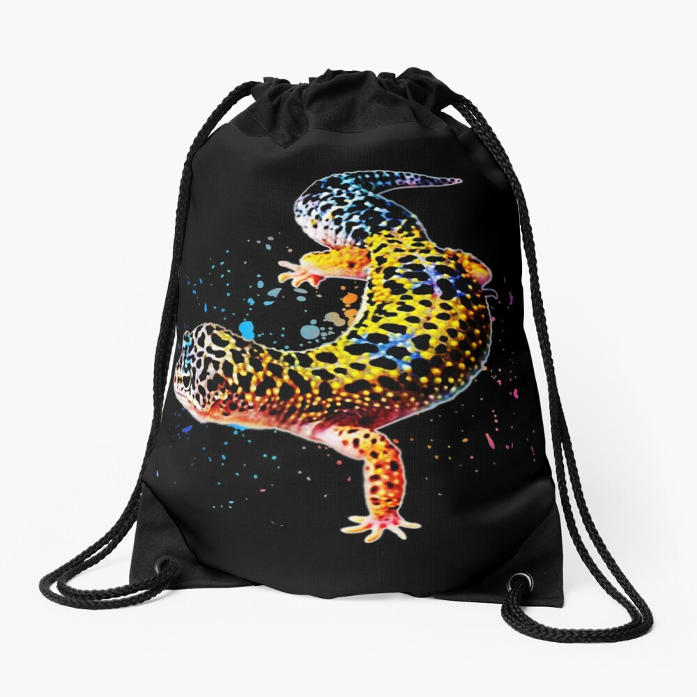 Leopard Gecko Reptile Keeper Lizard Watercolor Drawstring Bag