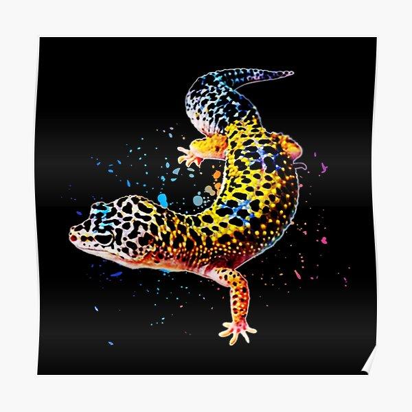 Leopard Gecko Reptile Keeper Lizard Watercolor Poster