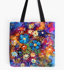Vibrant abstract flowers painting Tote Bag