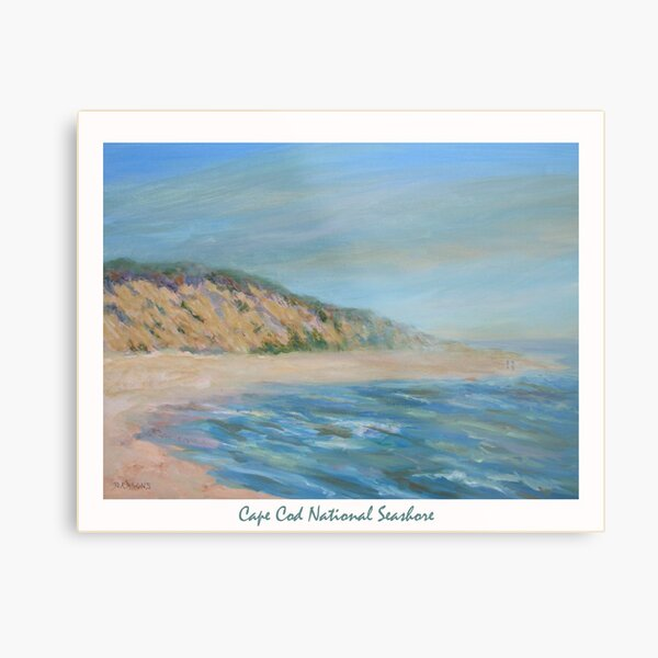 Cape Cod National Seashore. Oil painting of the unspoiled dunes and beach of Cape Cod. Metal Print