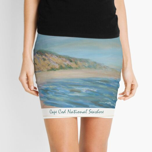 Cape Cod National Seashore. Oil painting of the unspoiled dunes and beach of Cape Cod. Mini Skirt