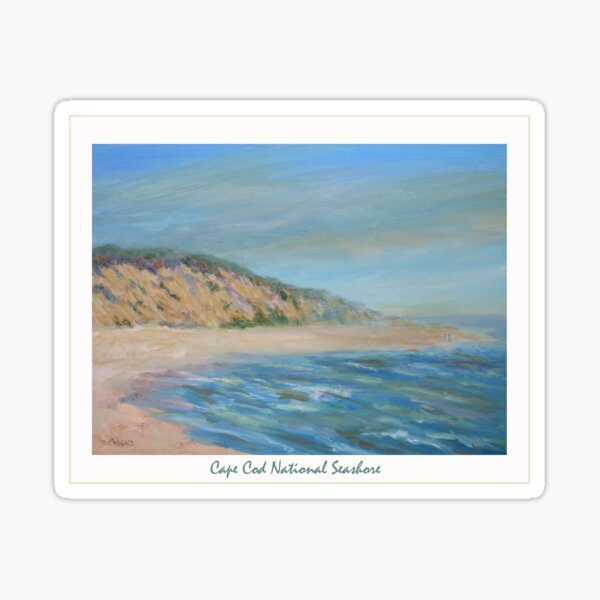 Cape Cod National Seashore. Oil painting of the unspoiled dunes and beach of Cape Cod. Sticker