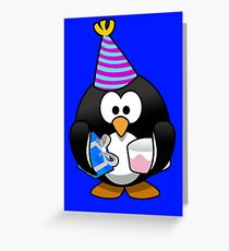 Personalized birthday card penguin geek funny nerd Greeting Card
