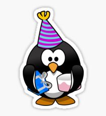 Personalized birthday card penguin geek funny nerd Sticker