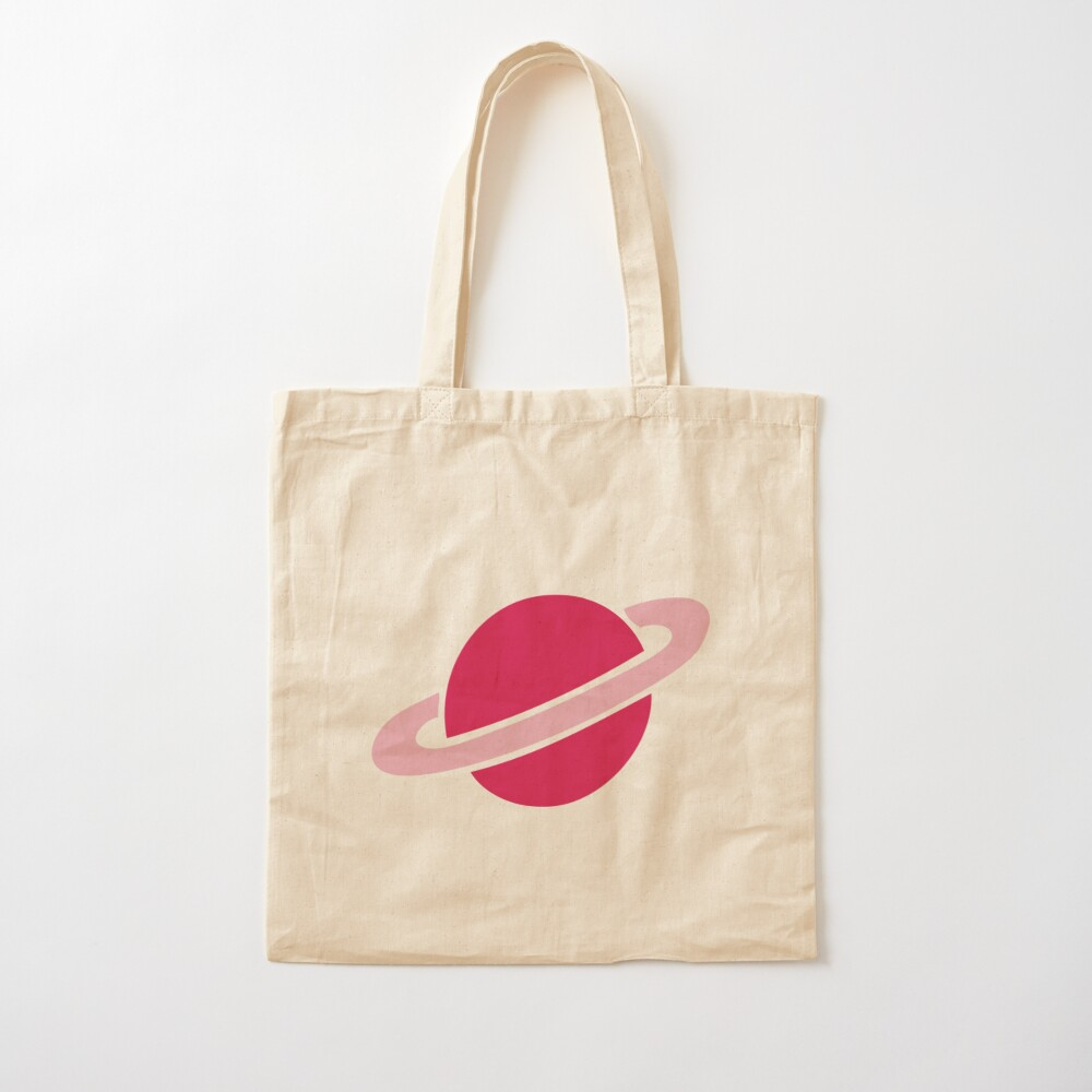 Neon Space Planets Pattern Cotton Tote Bag