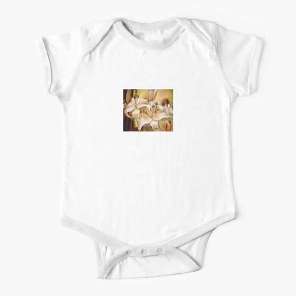 Lilly - original work - oil on canvas by Avril Thomas Short Sleeve Baby One-Piece