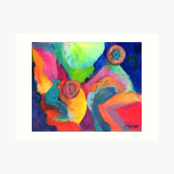 Cat Looking at the Moon. From abstract expressionist painting by Pamela Parsons. Art Print