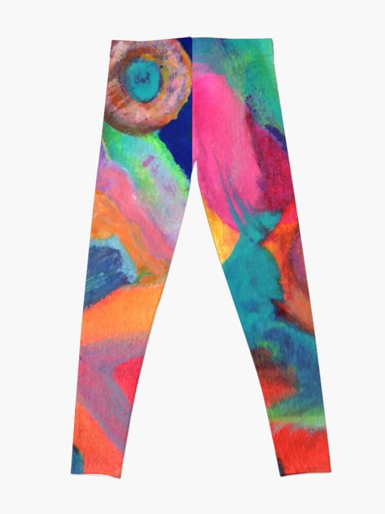 Alternate view of Cat Looking at the Moon. From abstract expressionist painting by Pamela Parsons. Leggings