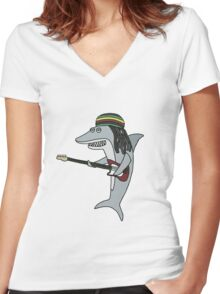 Reggae shark Women's Fitted V-Neck T-Shirt