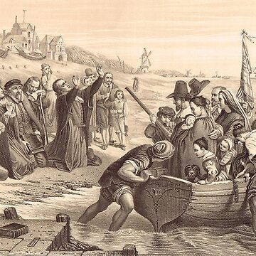 Departure of Pilgrim Fathers Delft Holland 1620 by artfromthepast