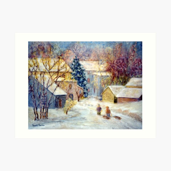 Snow Day, Children sledding in Carversville, Bucks County, PA, A  Winter holiday print. Art Print