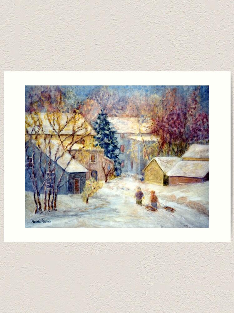 Alternate view of Snow Day, Children sledding in Carversville, Bucks County, PA, A  Winter holiday print. Art Print