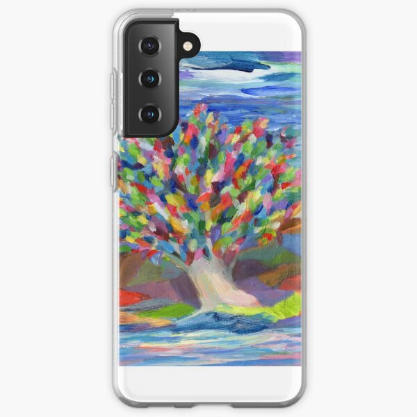 Dream Tree, grow your hopes and dreams. A rainbow leaved tree grows on a rocky coast by the sea in this colorful acrylic daydream. Samsung Galaxy Soft Case