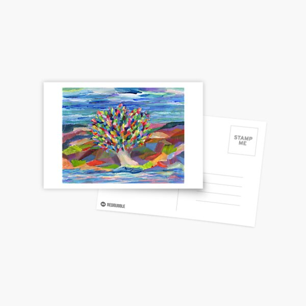 Dream Tree, grow your hopes and dreams. A rainbow leaved tree grows on a rocky coast by the sea in this colorful acrylic daydream. Postcard