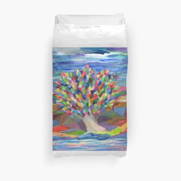 Dream Tree, grow your hopes and dreams. A rainbow leaved tree grows on a rocky coast by the sea in this colorful acrylic daydream. Duvet Cover