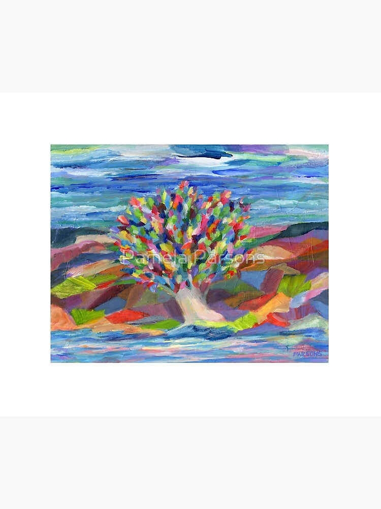 Dream Tree, grow your hopes and dreams. A rainbow leaved tree grows on a rocky coast by the sea in this colorful acrylic daydream. by parsonsp