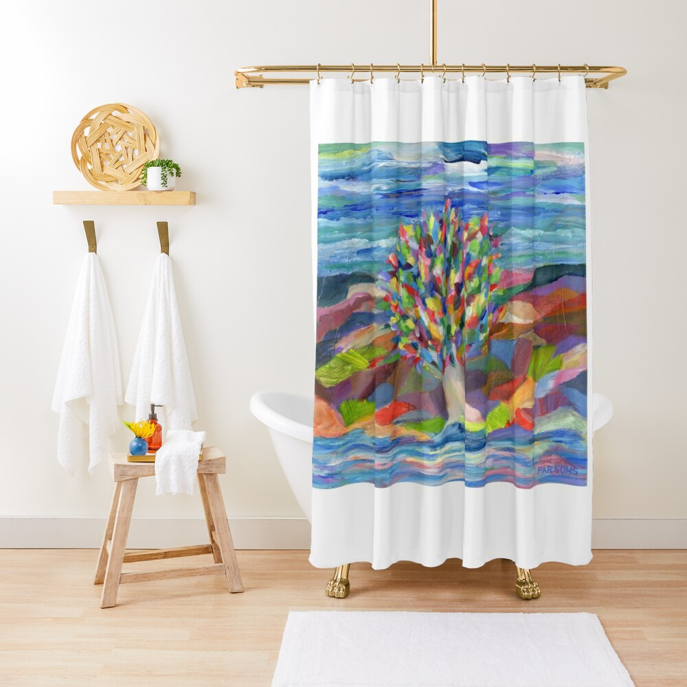 Dream Tree, grow your hopes and dreams. A rainbow leaved tree grows on a rocky coast by the sea in this colorful acrylic daydream. Shower Curtain