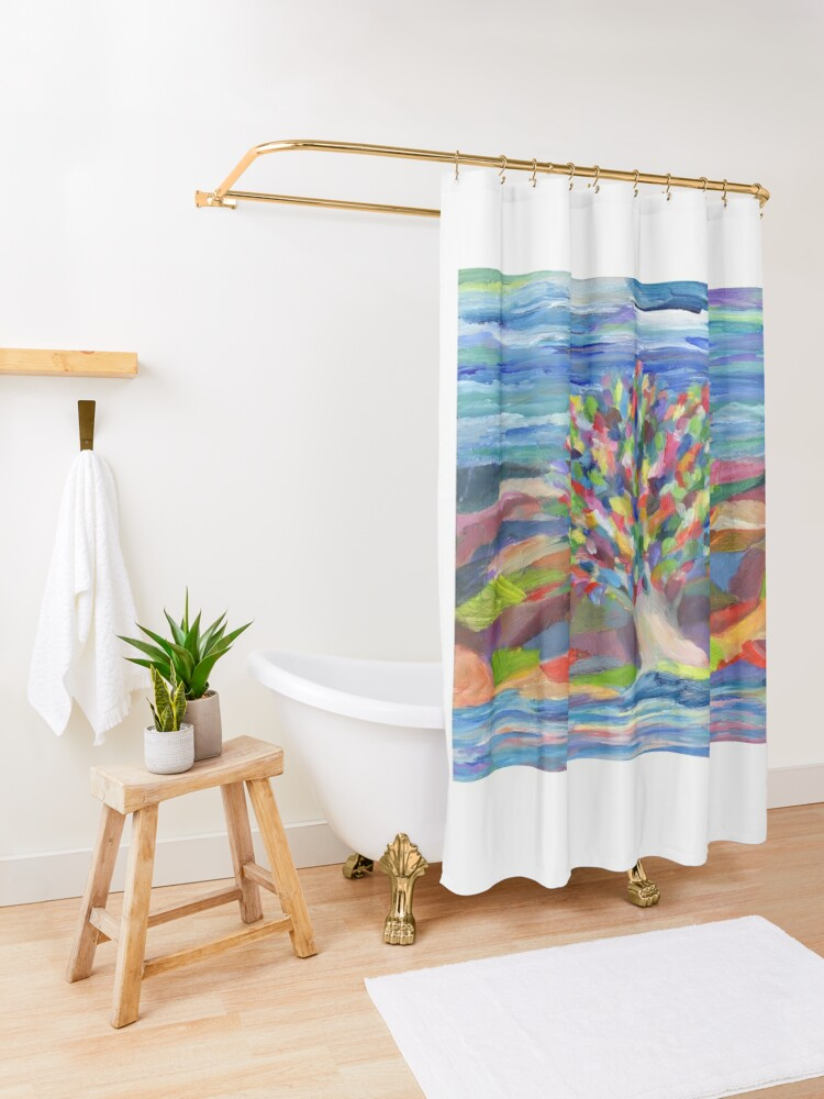 Alternate view of Dream Tree, grow your hopes and dreams. A rainbow leaved tree grows on a rocky coast by the sea in this colorful acrylic daydream. Shower Curtain