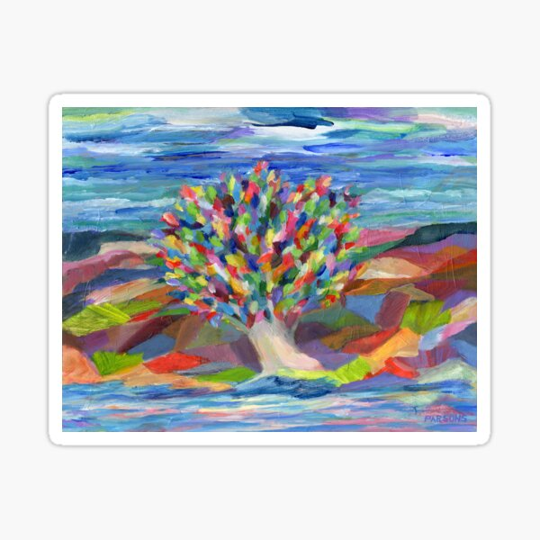 Dream Tree, grow your hopes and dreams. A rainbow leaved tree grows on a rocky coast by the sea in this colorful acrylic daydream. Sticker