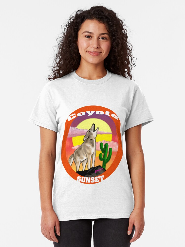 Alternate view of Coyote Sunset Version2 Classic T-Shirt