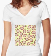 Dragon fruit on light background Fitted V-Neck T-Shirt