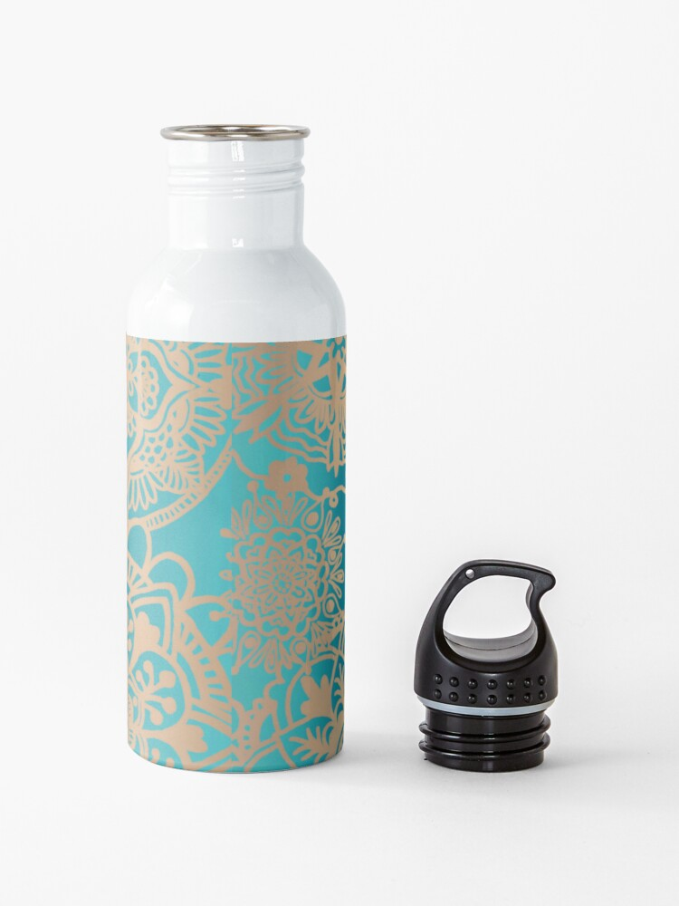 Alternate view of Teal Green and Gold Mandala Pattern Water Bottle