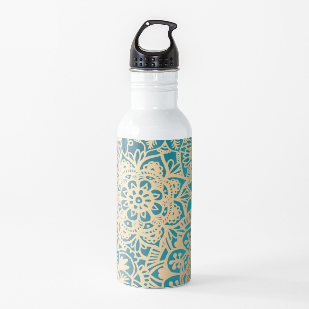 Teal Green and Gold Mandala Pattern Water Bottle