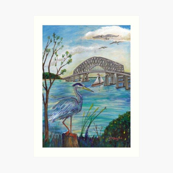 Blue heron by Key bridge Art Print