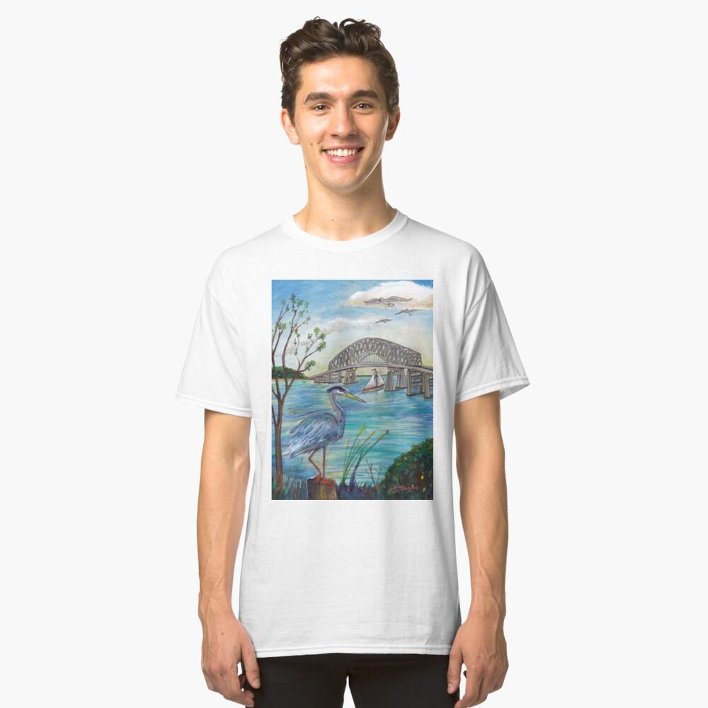 Blue heron by Key bridge Classic T-Shirt