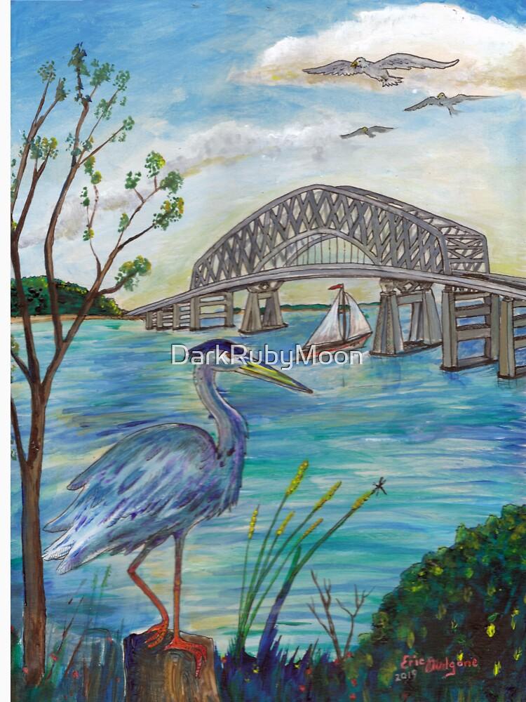 Blue heron by Key bridge by DarkRubyMoon