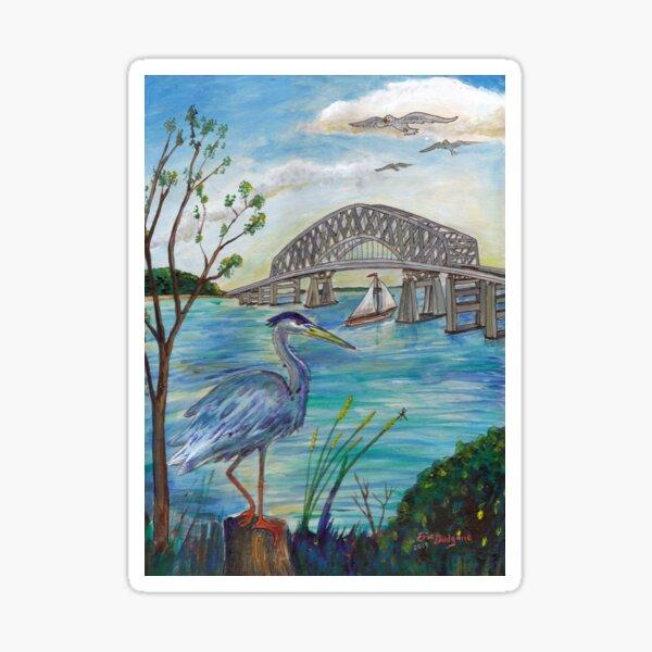 Blue heron by Key bridge Sticker