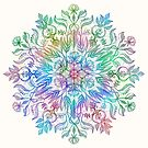 Nature Mandala in Rainbow Hues by micklyn