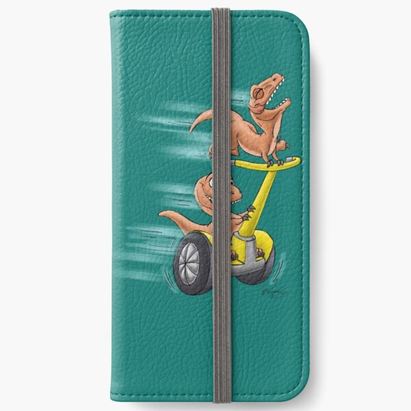 Raptors on a Segway! from Mom Needs a Dinosaur! Book - Teal Background iPhone Wallet
