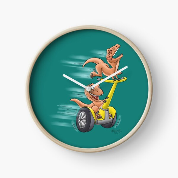 Raptors on a Segway! from Mom Needs a Dinosaur! Book - Teal Background Clock