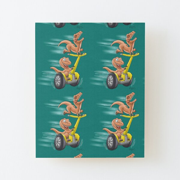 Raptors on a Segway! from Mom Needs a Dinosaur! Book - Teal Background Wood Mounted Print