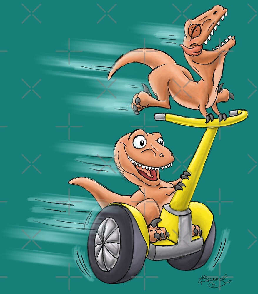 Raptors on a Segway! from Mom Needs a Dinosaur! Book - Teal Background by SeabearPress
