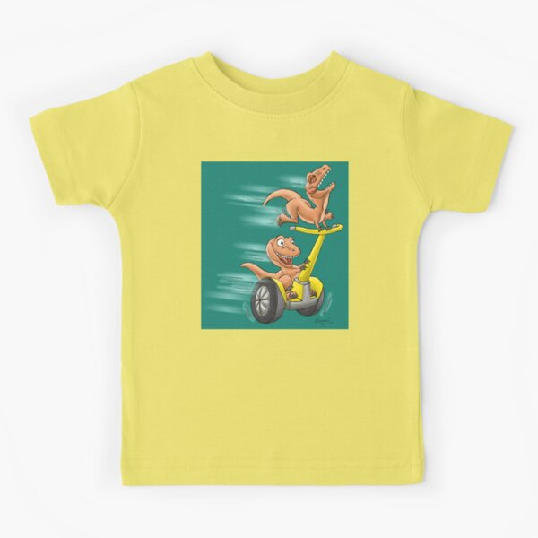 Raptors on a Segway! from Mom Needs a Dinosaur! Book - Teal Background Kids T-Shirt