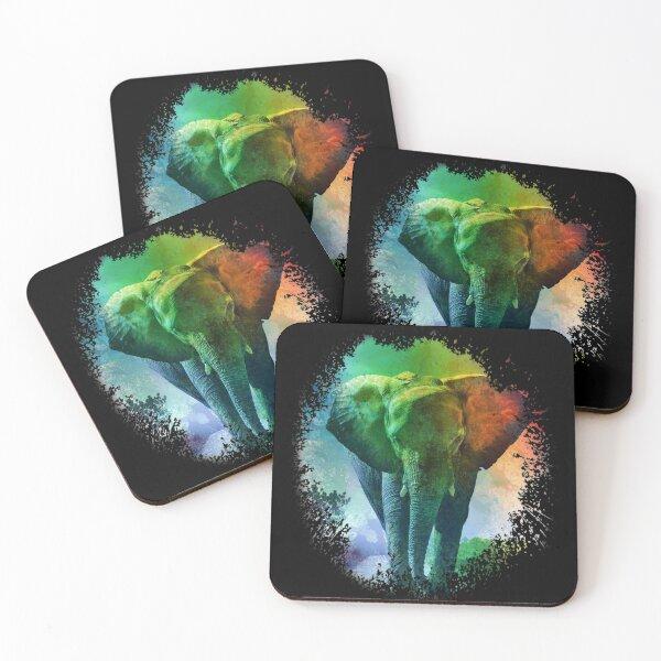 Colorful Elephant Art Coasters (Set of 4)