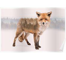 Fox Double Exposure Poster