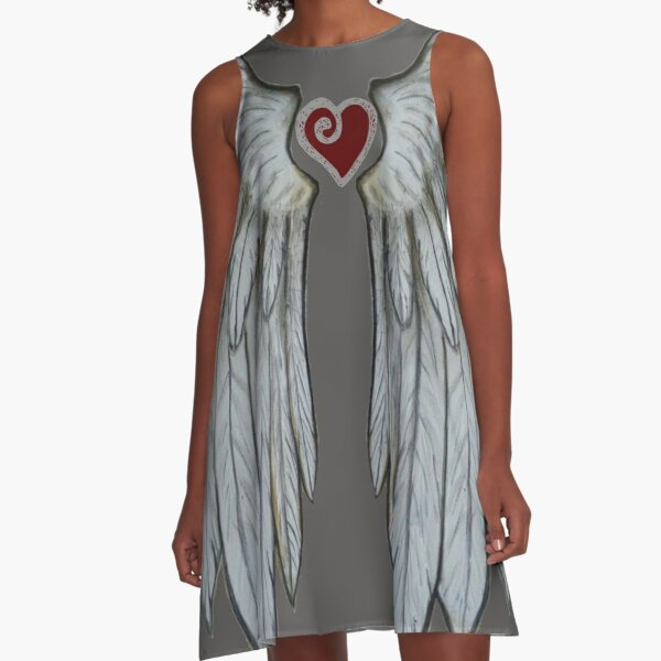 Angel Wings and Heart A-Line Dress