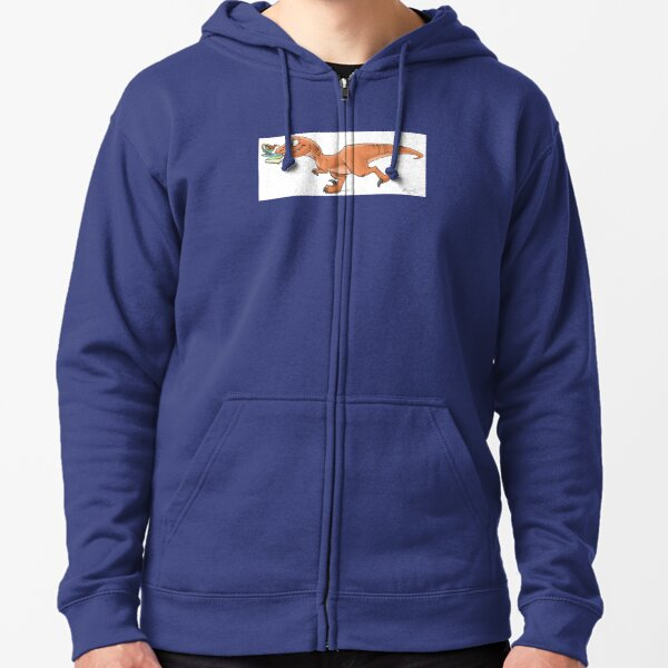 Raptor Tea and Book Fetch! from Mom Needs a Dinosaur! Book - Blue Background Zipped Hoodie