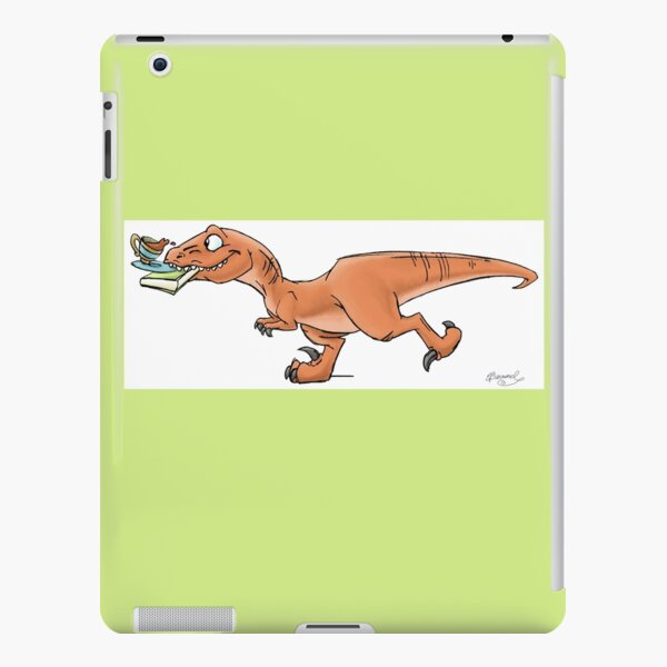 Raptor Tea and Book Fetch! from Mom Needs a Dinosaur! Book - Green Background iPad Snap Case