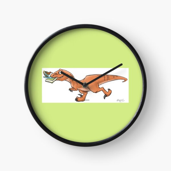 Raptor Tea and Book Fetch! from Mom Needs a Dinosaur! Book - Green Background Clock