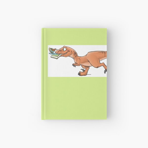 Raptor Tea and Book Fetch! from Mom Needs a Dinosaur! Book - Green Background Hardcover Journal