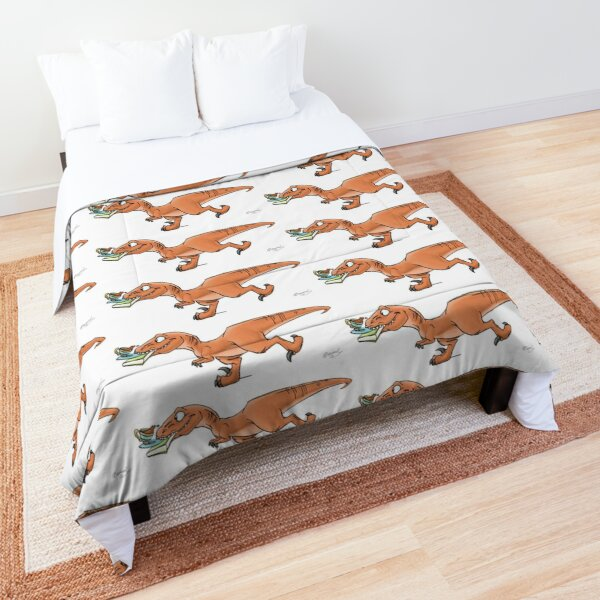 Raptor Tea and Book Fetch! from Mom Needs a Dinosaur! Book - Green Background Comforter