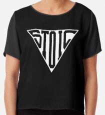 Stoic Triangle - Black Letters Chiffon Top