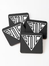 Stoic Triangle - Black Letters Coasters