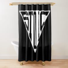 Stoic Triangle - Black Letters Shower Curtain