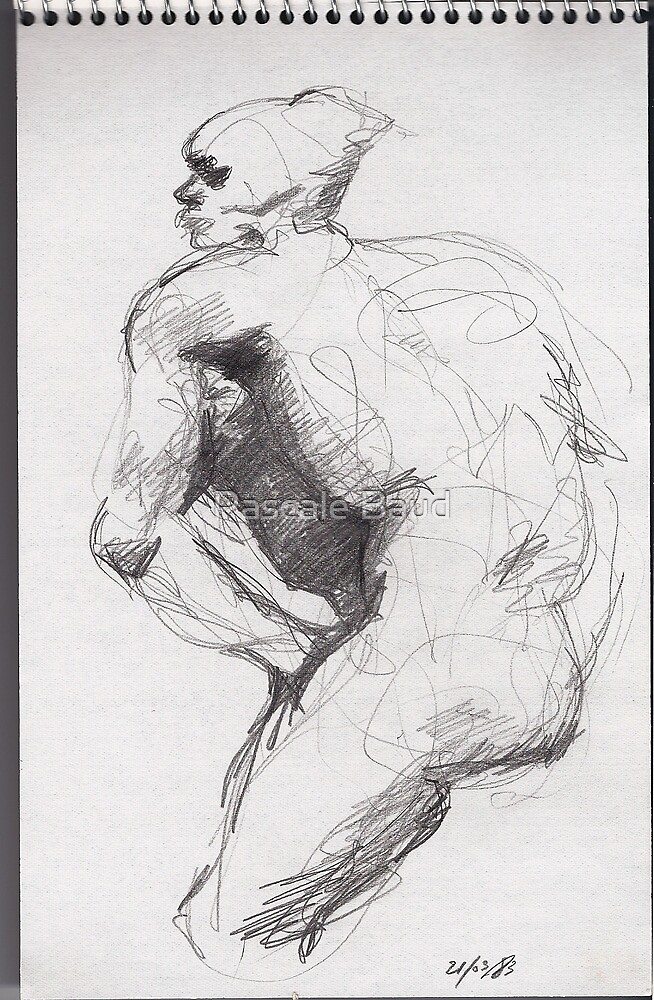 Drawing about Nijinsky of Rodin by Pascale Baud