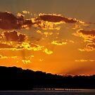 Golden Christmas Sunet - Lake Macquarie NSW Australia by Bev Woodman